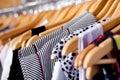 Multi-coloured wardrobe showcase, closeup Royalty Free Stock Images