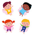 Multi cultural different jumping children -  Stock Photo