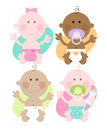 Multi ethnic babies cute colourful characters Royalty Free Stock Photo