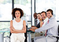 Multi-ethnic business team in a call center Stock Images
