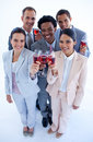 Multi-ethnic business team drinking wine Royalty Free Stock Photo