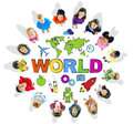 Multi ethnic children with text world and related symbols Stock Photography