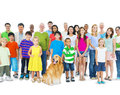 Multi ethnic group of mixed age people together as one family Royalty Free Stock Photo
