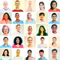 Multi ethnic group with sepia toned portraits Stock Images