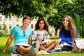 Multi ethnic students in a park group of city Royalty Free Stock Photos