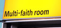 Multi faith prayer room sign of a in heathrow london airport Royalty Free Stock Image