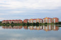 Multi family brick houses by the lake zelenogorsk krasnoyarsk territory Stock Image