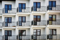 Multi family house exterior balconies in a row Stock Image