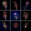 Multi fireworks x square grid Stock Images