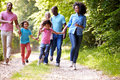 Multi generation african american family on country walk having fun whilst holding hands Royalty Free Stock Photos