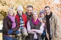 Multi-generation family on autumn walk Royalty Free Stock Photos