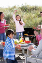 Multi generation family having outdoor barbeque enjoying and fun Royalty Free Stock Photos