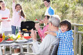Multi generation family having outdoor barbeque fun Stock Images
