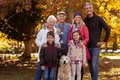 Multi-generation family standing with dog at park Royalty Free Stock Photo