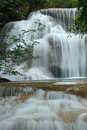 Multi layer deep forest waterfall in kanchanaburi thailand Stock Photo