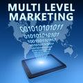 Multi level marketing illustration with tablet computer on blue background Stock Image