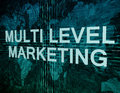 Multi level marketing text concept on green digital world map background Stock Photography