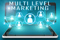 Multi level marketing text illustration with social icons and tablet computer and mobile cellphones on cyan digital world map Stock Photo