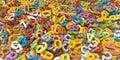 Multi mucchio di colore d delle lettere di alfabeto su fondo bianco Fotografie Stock Libere da Diritti