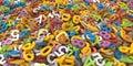 Multi mucchio di colore d delle lettere di alfabeto su fondo bianco Immagini Stock Libere da Diritti