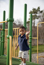 Multi-racial boy at the playground Royalty Free Stock Images