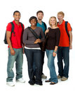 Multi-racial college students on white Stock Image