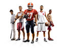 Multi sport collage boxing baseball american football volleyball bascketball Royalty Free Stock Photo