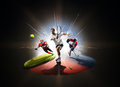 Multi sports collage from tennis hockey american footbal Royalty Free Stock Photo