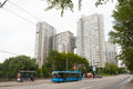 Multi-story apartment houses and a trolley in Moscow 13.07.2017