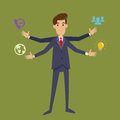 Multi tasking businessman with four arms vector illustration Stock Image