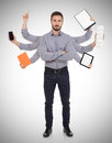 Multi tasking man confident with office supplies in six hands white background Royalty Free Stock Image