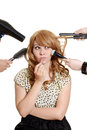 Multi tasking teen girl makeover isolated Stock Image
