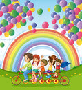 A multi wheeled bike below the floating balloons near the rainbo illustration of rainbow Royalty Free Stock Images