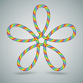 Multicilor celtic laced rope shape decorative multicolor of a with five loops great for christmas and children Stock Images