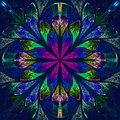 Multicolor beautiful fractal in stained glass window style. Comp Royalty Free Stock Images