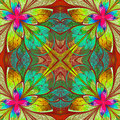 Multicolor beautiful fractal in stained glass window style comp computer generated graphics Stock Photo