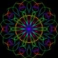 Multicolor bright kaleidoscope style illustration on a black background
