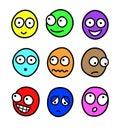 Multicolor cartoon facial expressions