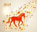 Multicolor chinese new year of horse background walking red and orange over contemporary transparent circle eps vector file with Royalty Free Stock Photos