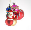 Multicolor christmas balls on neutral background Royalty Free Stock Photo