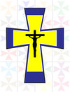 Multicolor Cross with Black Jesus Cross on The Transoarency Colo Stock Photography