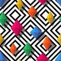 Multicolor diamonds, gems on geometric seamless pattern. 3d stylized vector shapes Royalty Free Stock Photo