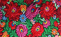 Multicolor floral hand embroidery pattern closeup Stock Photo