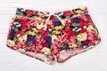 Multicolor floral textile women briefs. Royalty Free Stock Photo