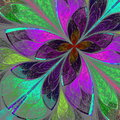 Multicolor fractal flower in stained glass window styl beautiful style computer generated graphics Royalty Free Stock Photography