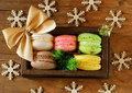 Multicolor French macaroons sweet Christmas present Royalty Free Stock Photo