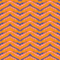 Multicolor geometric hipster pattern zig zag shapes bold orange red blue colors stylization mexican native art texture textile Stock Image