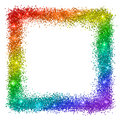 Multicolor glitter square frame, rainbow colors, isolated on white background. Vector