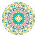 Multicolor graphic mandala with ethnic and floral motives