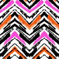 Multicolor hand drawn pattern with zigzag lines Royalty Free Stock Photo